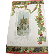 SALE 1908‏, Seasons Greetings Christmas Card Gilt & Embossed