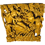 SALE Deep Relief Asian Carving, Men, Birds, Cattle, Stunningly Three Dimensional!