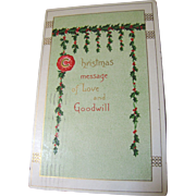 1910, Christmas Message of Love and Goodwill Postcard, postmarked Dec. 24,1910