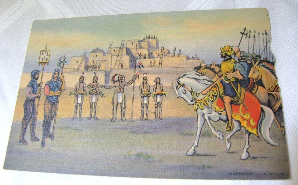 Coronado at Tiguex in 1540 scene near Bernalillo N.M. PostCard mid 20th century