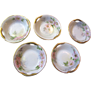 Beautiful Set of 5 Antique Hand Painted Bavarian Open Salts, Gilt, Flowers!