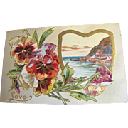 "SALE 1910, ""Love"" Embossed Post Card copyright 1910, series 108 K, This card is blan"