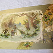 "SALE 1910, ""A Happy New Year"", Embossed Winter Scene,"