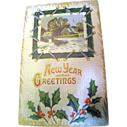 "SALE Early 1900's, ""New Years Greetings"" Embossed Post Card ."