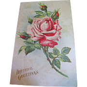 "SALE ""Birthday Greetings"" Embossed Rose, European Postcard, Circa 1910‏"