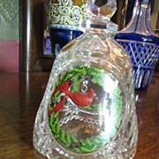 SALE Pretty ArtMark German Lead Crystal Christmas Bell with Cardinal Bird Ringer