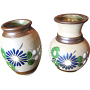 SALE Nice Pair of Hand Made Mexican Pottery Small Vases