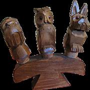 SALE 1950's, 3 Hand Carved Vintage Wooden Anri Figural Animal Bottle Stoppers