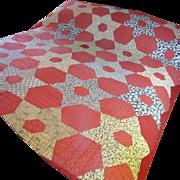 SALE Hand Stitched Antique Calico Quilt, Warm Rich Colors!