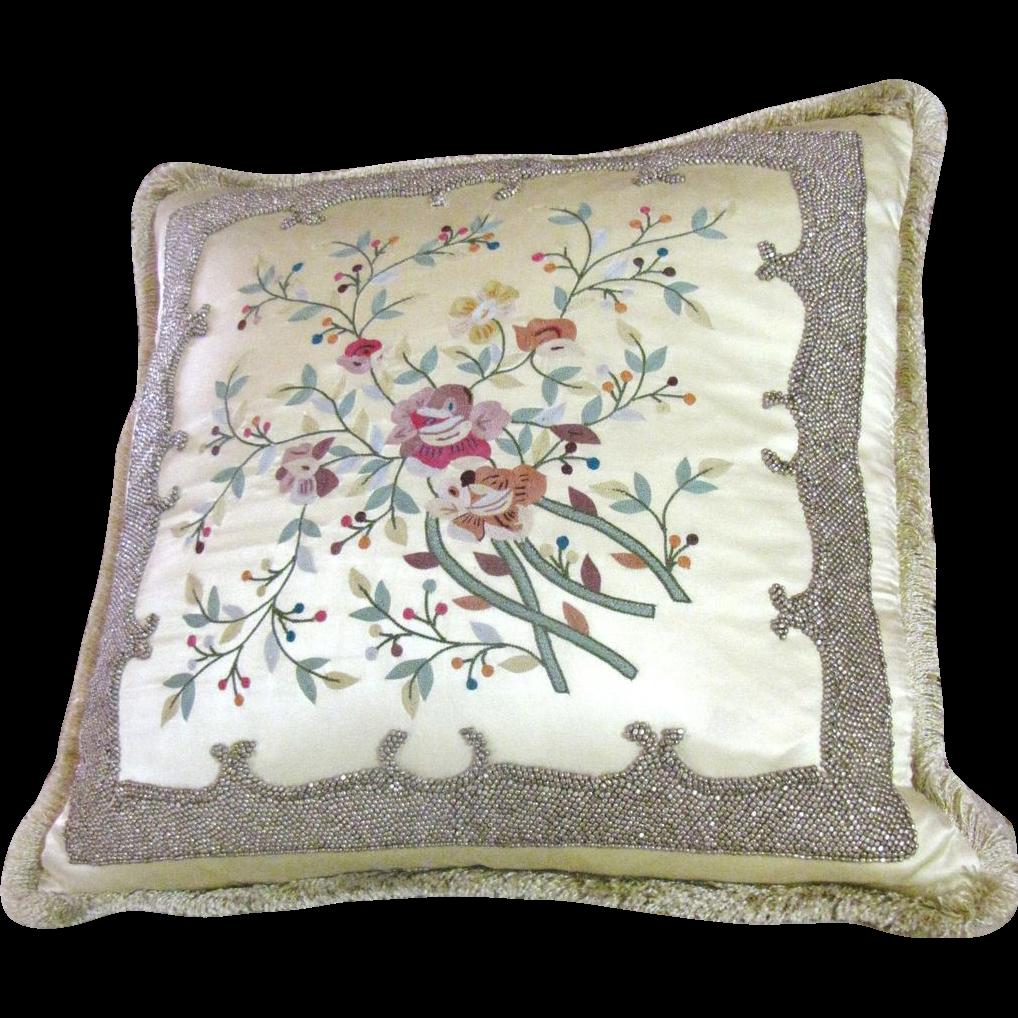 Stunning Oriental Silk Satin Ornately  Embroidered & Beaded Pillow