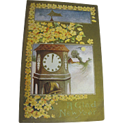 """SALE """"A Glad New Year"""" Postcard Early 20th Century"""