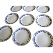 """Nine 6 3/4"""" Plates 1970's Corning Pyrex Old Town Blue Onion"""