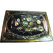 SALE Lovely Circa 1840's Papier Mache Jewelry Box, with Abalone Inlay