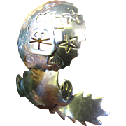 SOLD Oh What Fun! Mexican Sterling Articulated Startled Cat Pin