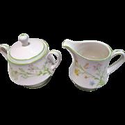 Noritake Creamer & Sugar Bowl in the Reverie Pattern