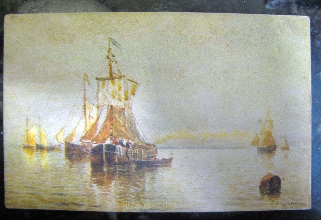 "Early 20th century, ""Under Venetian Skies"" Postcard from painting by H. Romanie ,‏"