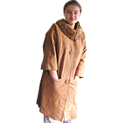 Gorgeous Retro 1960's Blonde Suede Coat with Mink Collar