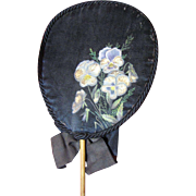 "SALE Lovely Victorian Hand Painted Silk ""Forget Me Not"" Mourning Fan"