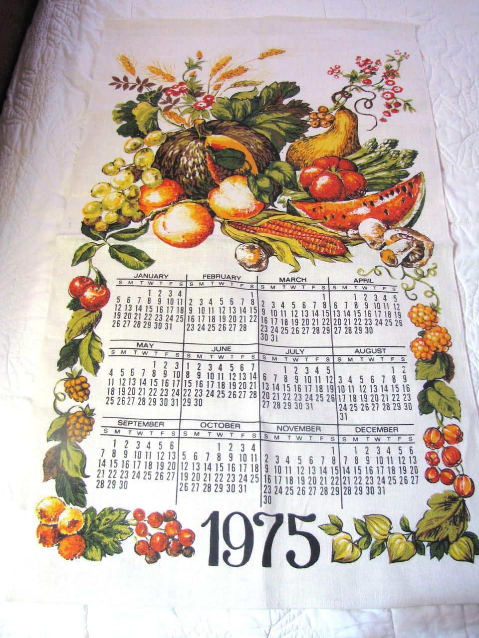 Nice Vintage Fall Vegetable Pure Linen Tea Towel