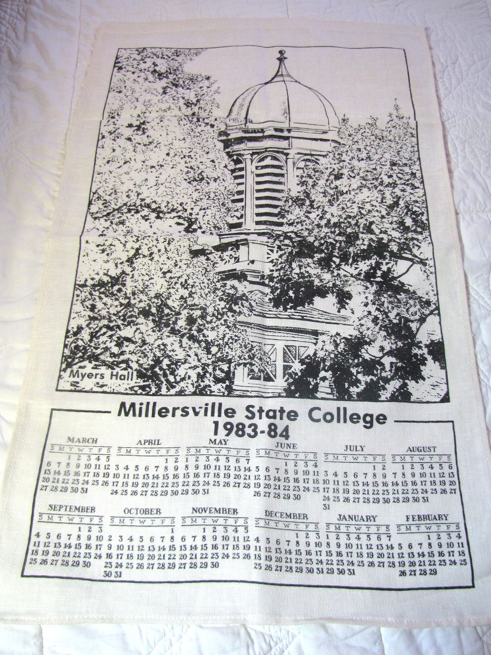 Nice Vintage Millersville State College Pure Linen Tea Towel