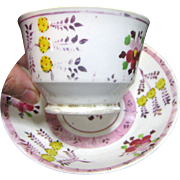 Early Pink Lustre Handless Cup and Saucer