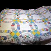 Circa 1930's Hand Stitched Wedding Band Quilt, Lovely Retro Fabrics!
