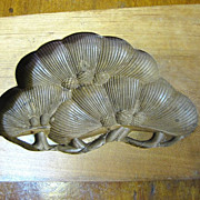 Beautiful Hand Carved Antique 2 Part Walnut Wooden Kashigata Mold, Pinecone Design