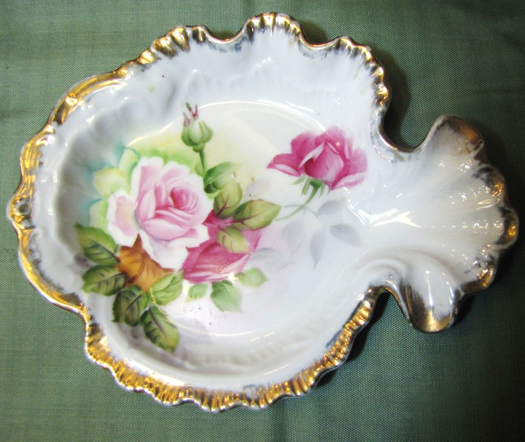 Lovely Vintage Hand Painted Rose Gilt Trinket Tray