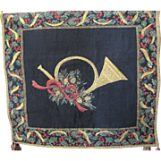 SALE Lovely Vintage Heraldic Christmas Tapestry Banner, Tassels, Gold Weave!