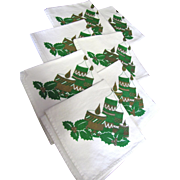 "SALE Nice Set of Seven 14"" Christmas Cotton Napkins"