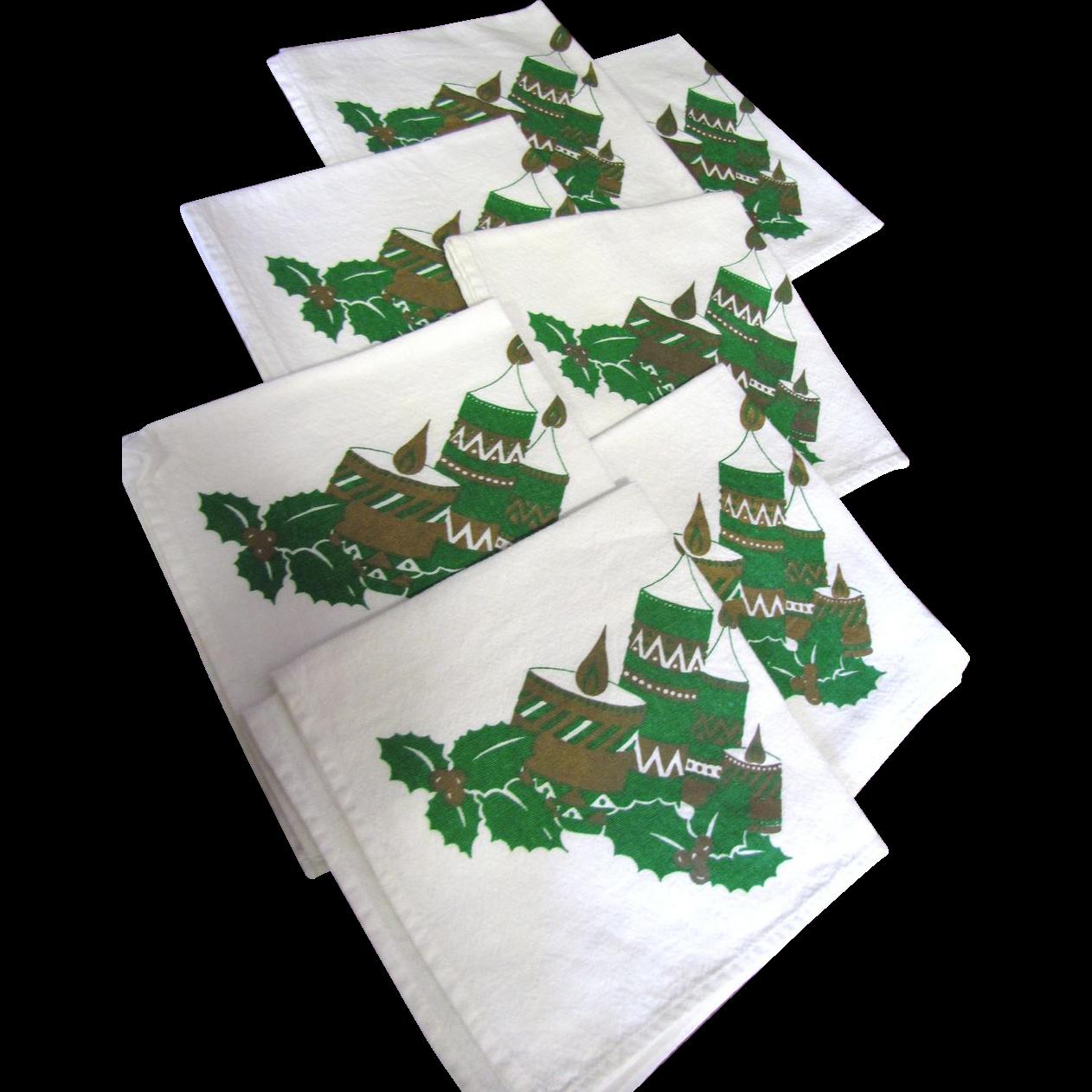 """Nice Set of Seven 14"""" Christmas Cotton Napkins"""