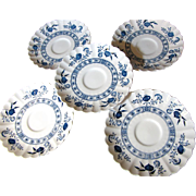 """Five 6"""" J & G Meakin Classic White Nordic Saucers"""