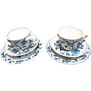 Lovely Pair of Blue Danube Cup & Saucer Sets, Pristine!