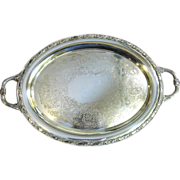 """Massive 24"""" Silver on Copper Engraved Tray, Beautiful!"""