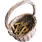 SALE Primtive Old Wicker Basket with 40 Hand Made Wooden Clothes Pegs