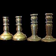SALE 2 Pairs of Minaiture Brass Vintage Candlesticks