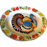SALE 1950's Tole Turkey Platter, Perfect for Thanksgiving