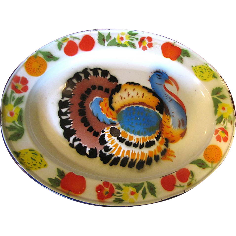 1950's Tole Turkey Platter, Perfect for Thanksgiving