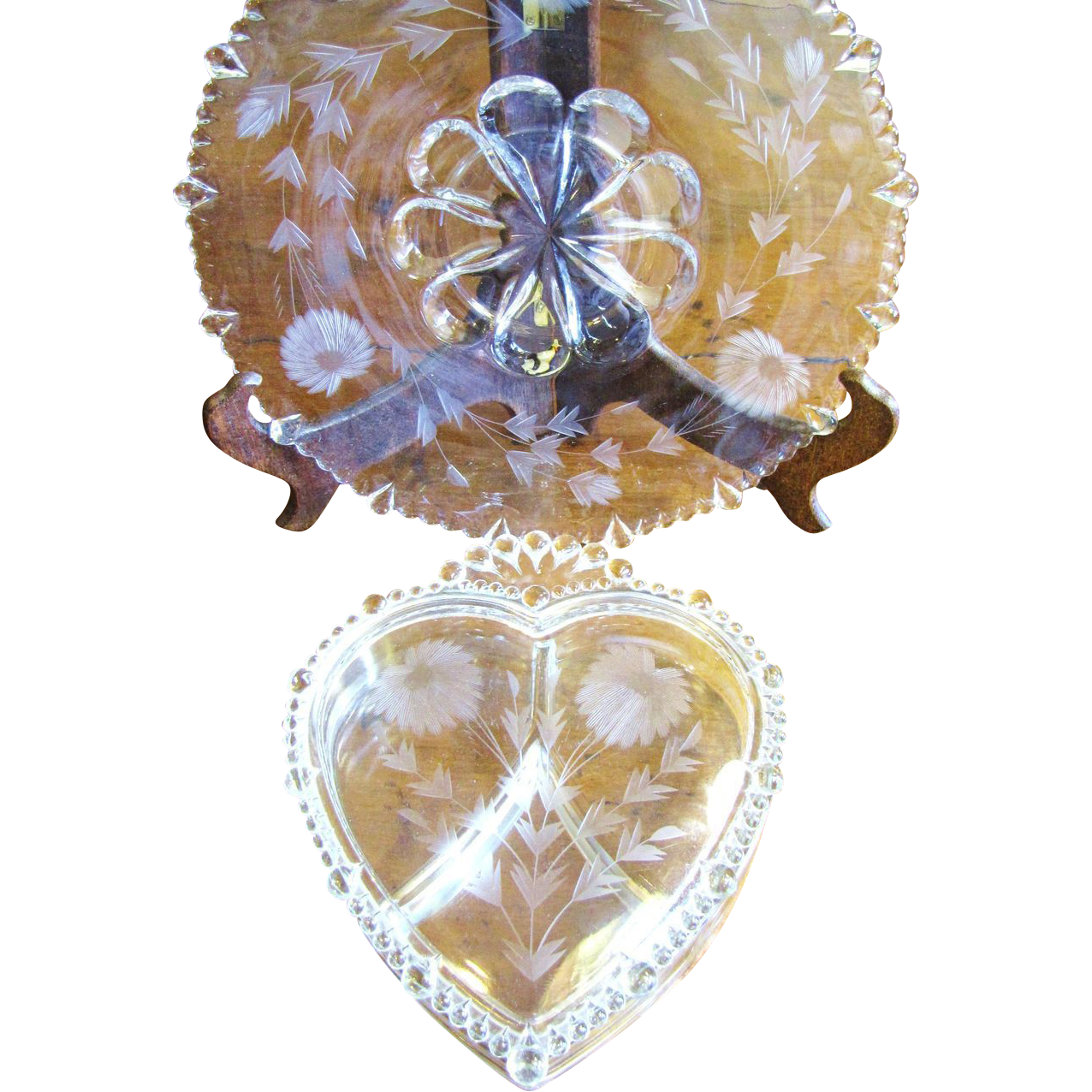 Paden City Glass Floral Etched Heart Shaped Candy Box & Large Plate