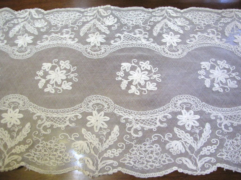 """Large & Exquisite Heavily Worked Antique 42"""" Tambour Lace Runner"""