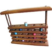 Useful Hardwood Wall Caddy Holder for Cotton Bobbin Display or Use