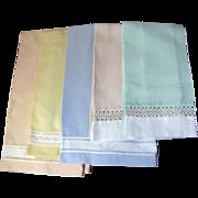 Super Set of 5 Vintage Pastel Hand Guest Towels