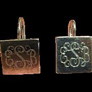 SALE Lovely Vintage Sterling Mexican Monogrammed Pierced Earrings