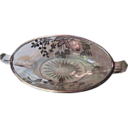 Lovely Sterling Overlay Oval Jelly Bowl, Fruit and Berry Design!