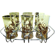 SALE Great Looking Set of 6 Retro Tumblers in Wire Caddy