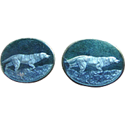 SALE Stunning Pair of Antique Sterling Engraved Guilloche Dog Cuff-links