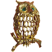 SALE Vintage Retro Napier Owl Pin with Rhinestone Eyes