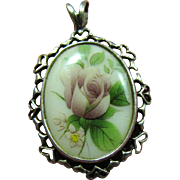 SOLD Sweetest Little Sterling Pendant with Romantic Hearts & Roses!