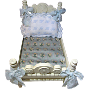 SALE Perfect Early Shabby French Style Doll Bed with Prettiest Bedding