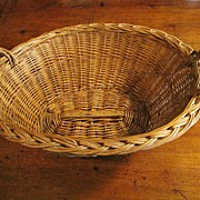 Beautiful Vintage Hand Woven Cane Basket with Oak Stretcher